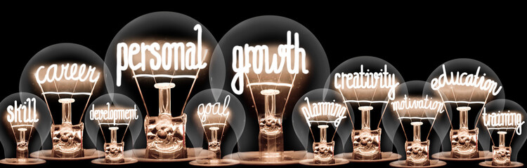 Light Bulbs with Personal Growth Concept