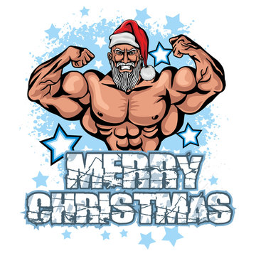 Christmas fitness Santa Claus, grunge vintage design t shirts