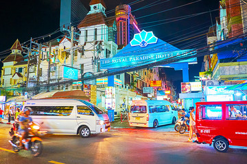The traffic in evening, on May 1, 2019 in Patong Beach, Phuket, Thailand