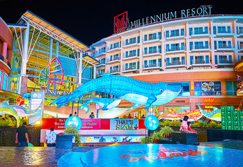The blue whale at Jungceylon shopping center, on May 1, 2019 in Patong Beach, Phuket, Thailand