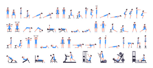 Man gym set. Men workout set. Men Fitness Aerobic and Exercises. isolated on white background Wall mural
