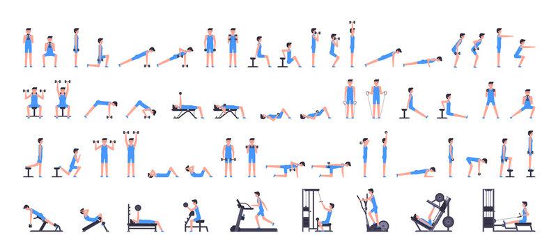 Man gym set. Men workout set. Men Fitness Aerobic and Exercises. isolated on white background