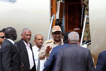 General Mohamed Hamdan Dagalo, Deputy Head of the Sudan Transitional Military Council, arrives in the Juba international airport