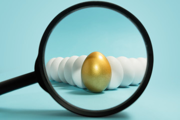 Search of unique people. Talent Management. One golden egg under magnifier among white eggs on blue background.