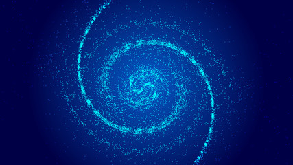 Foto auf AluDibond Spirale The universe vortex constructed by the movement trajectory of luminescent particles and the abstract background of network technology big data
