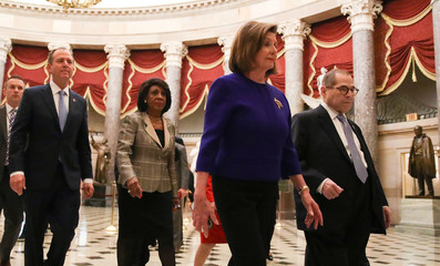 House Democratic committee chairs head to announce articles of impeachment against President Trump on Capitol Hill in Washington