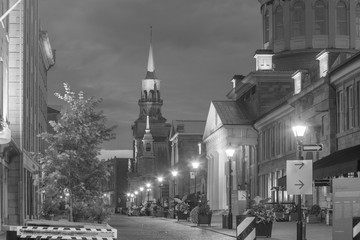 Old town Montreal at famous Cobbled streets at twilight