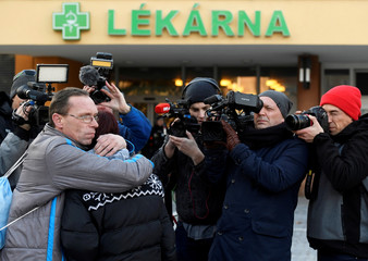 Czech Prime Minister Andrej Babis walks out of the University Hospital in Ostrava
