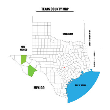 County map of Texas state, USA. Every county is named in Layers panel. Easy to select and edit entire content.