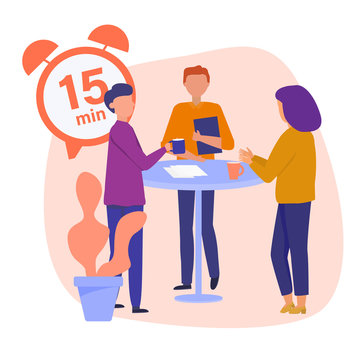 Daily scrum. Team standing around the table and making 15 min Stand-up Scrum, Vector concept illustration.