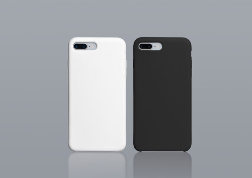Black and white iPhone 8 plus cases mock up, isolated on gray background. Two smart phones in black and white plastic covers back view. Horizontal template of phone case