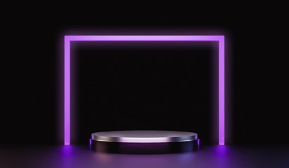 Modern plate pedestal of neon light platform display with luxury stand podium on dark room background. Blank Exhibition or empty product shelf. 3D rendering.