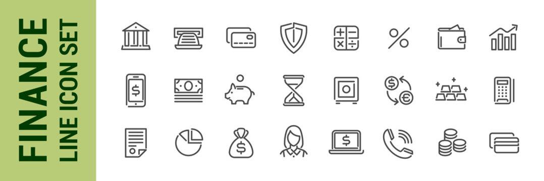 Finance line icon set. Bank economy money banking elements