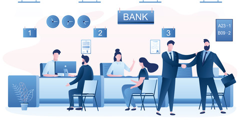Business people clients and bank staff on workplace. Bank managers and customers characters. Financial consultant.