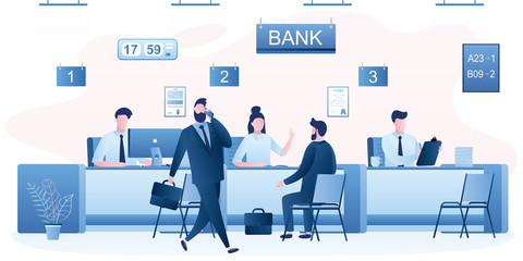 Modern bank office interior. Bank managers and customers characters. People clients in bank office room.