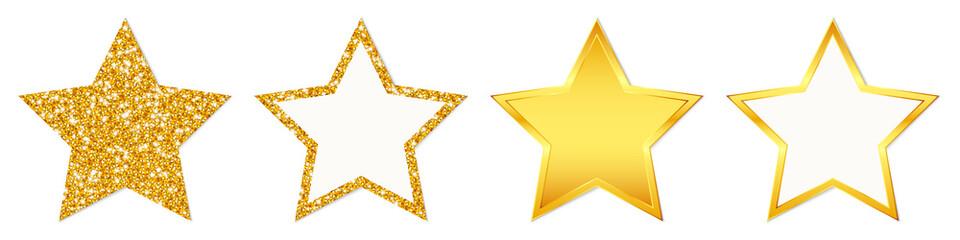 Set Vier Gerade Goldene Sterne Glitzer Und Glanz