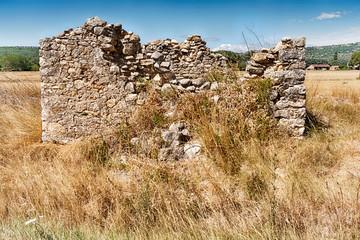 Stone Barn Ruins In A Field