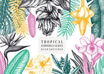 Tropical paradise frame design. With hand drawn exotic flowers and palm leaves sketches. Tropical wedding invitation or card template.  Exotic plants vintage background. Vector botanical illustration.