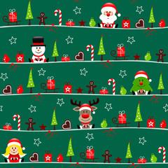 Endlosmuster Weihnachtsmann Schneemann Baum Rentier Und Engel Icons Dunkelgrün