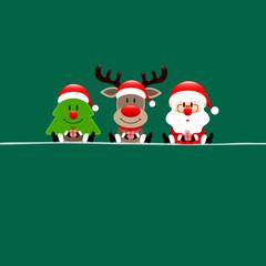 Wall Mural - Quadrat Baum Rentier Und Weihnachtsmann Dunkelgrün