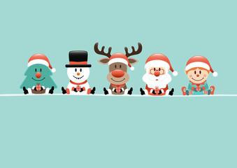 Wall Mural - Karte Baum Schneemann Rentier Weihnachtsmann Und Elf Türkis