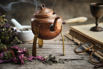 Foto auf Gartenposter Tee Old antique boiling teapot, dry coneflowers, old books, retro glasses and medicinal herbs.