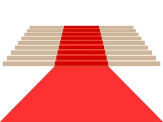 Climbing stairs with red carpet on a white background