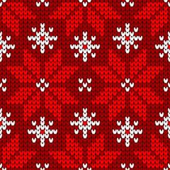 Endlosmuster Große Gestrickte Weihnachtssterne Rot Und Weiß