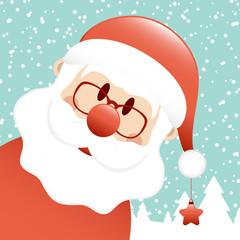 Diagonaler Weihnachtsmann Mit Stern Schnee Türkis