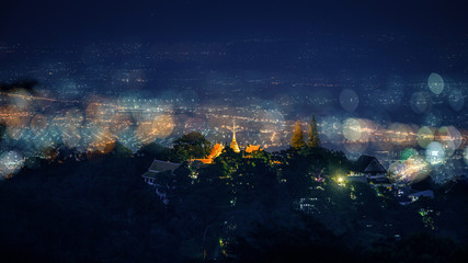 Wall Murals Violet Aerial view , Night landscape of Wat Doi Suthep temple at Chiang Mai, Thailand
