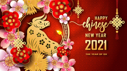 Happy Chinese new year 2021. The year of the Ox. Chinese new year fortune greeting card graphic design background and wallpaper. Red and gold paper cut with plum blossom flower. Asian culture element