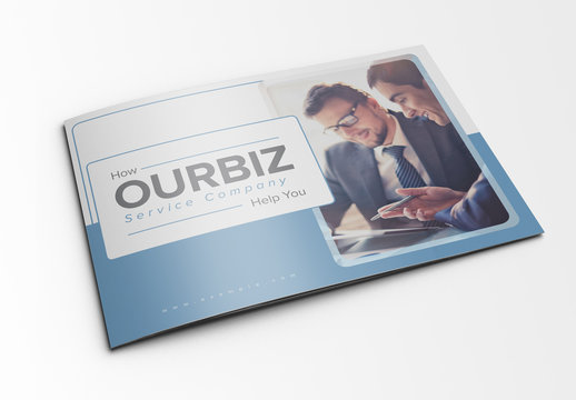 Landscape Brochure Layout with Blue Accents