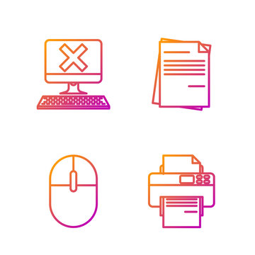 Set line Printer, Computer mouse, Computer with keyboard and x mark and File document. Gradient color icons. Vector
