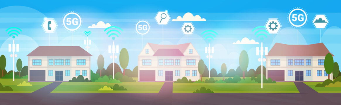 cottage houses in suburb 5G online wireless systems connection concept fifth innovative generation of high speed internet real estate cute town countryside background vector illustration