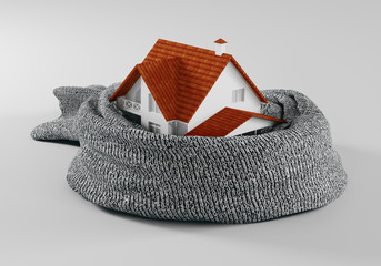 Background concepts. Comfortable insulated house soft scarf. 3d rendering