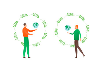 Ecology protection concept. Vector flat person illustration set. Female and male people holding earth globe sign in circle leaf frame isolated on white. Design element for banner, poster, background.