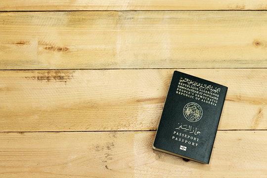passeport on wooden background