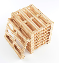 Business Logistics concept. Global business connection technology. Cardboard boxes. 3d rendering
