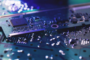 close-up of electronic circuit board