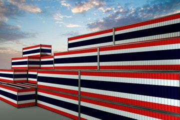 Door stickers London 3D illustration Container terminal full of containers with flag of Thailand