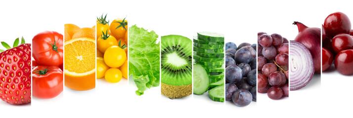 Keuken foto achterwand Verse groenten Collage of fruits, vegetables and berries. Fresh food