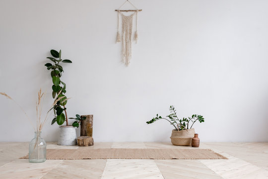 Wicker rug is lying on wooden floor next to pots with plants and hanging on the wall with wicker macrame on a white background. Concept is a cozy place in the house for classes. Advertising space
