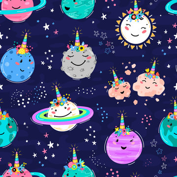 Magic Unicorn Seamless Pattern with Planets, Sun, Meteorite. Cute Planet Smiling Face with Unicorn Horn and Flower Crown. Space Vector Background for Kids t-shirt Print, Nursery Design, Birthday Party