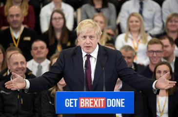 Britain's Prime Minister Boris Johnson campaigns in Uttoxeter
