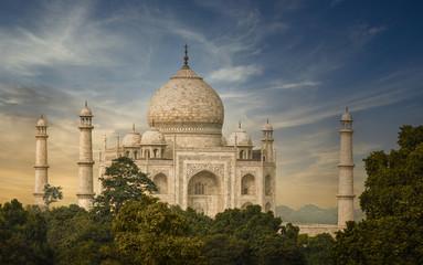 The Taj Mahal glowing in sunset colors - Agra, India
