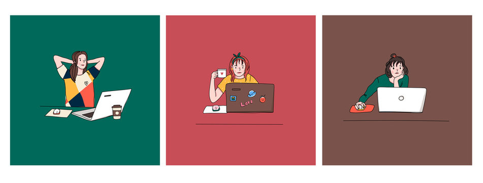 Young girls with laptops. Studying, drinking coffee, browsing internet, social media, blogging. Online education or communication concept. Set of three hand drawn vector illustrations. Cartoon style