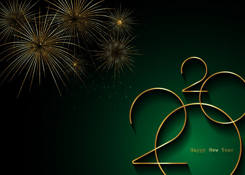 Golden 2020 New Year logo and gold fireworks. Holiday greeting card. Vector illustration. Holiday design for greeting card, invitation, calendar, party, gold luxury vip, isolated on green background