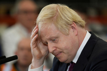 Britain's Prime Minister Boris Johnson campaigns in Uttoxeter