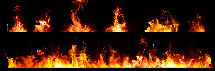 Set of Panorama Fire flames on black background. Fotobehang