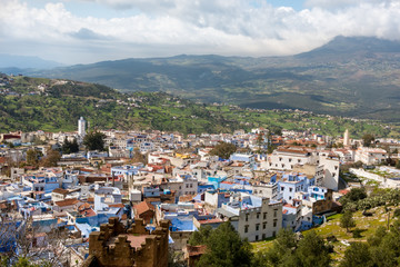 Blue town Chefchaouen Morocco. Aerial panoramic summer view
